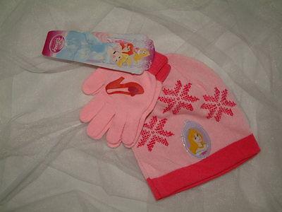 Disney Prinzessin Und Prinzen (Princess 2 tlg.Set Mütze und Handschuh für kleine Prinzessinnen Neu)