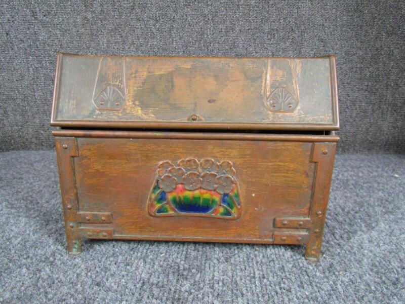 MUSEUM QUALITY ARTS & CRAFTS COPPER LETTER BOX with ENAMEL, attr. FRANK MARSHALL