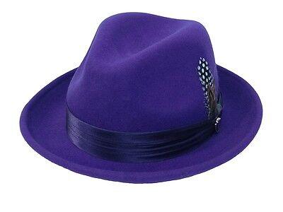 Men's Fedora Dress Hat Purple UN-107 Size S, M, L, XL 100% Australian Wool