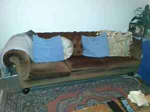 Velour Brown Chesterfield 3 seater lounge/sofa/couch Joyner Pine Rivers Area Preview