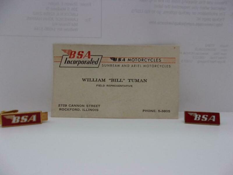 Bill Tuman BSA Tie clasp Pin Business Card Vintage Indian Race Champion 1953