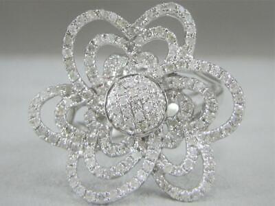 Kostüm Modern Pflastern Diamant 14kt Weiss Gold Blume Haufen Cocktail - Gold Kostüm Cocktail Ringe
