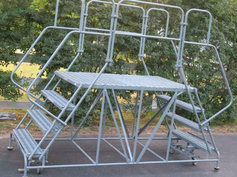 """COTTERMAN ROLLING 59° LADDER DOUBLE 4 STAIR ACCESS WORK PLATFORM 59"""" HANDRAIL"""