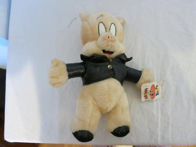 "LOONEY TUNES 1995 PORKY PIG 11"" ACE NOVELTY FAUX LEATHER JACKET W TAGS HANGER"