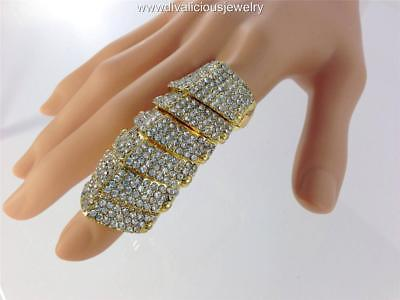 Crystal Vogue Joint Finger Ring - Gold or (Silver Joint)