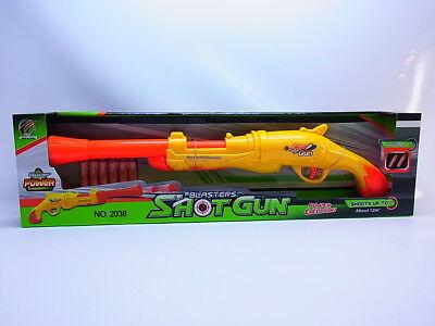 35457 Kinder Shotgun 2038 Schrotflinte Gewehr gelb, 6 Schaumstoff-Pfeile NEU OVP