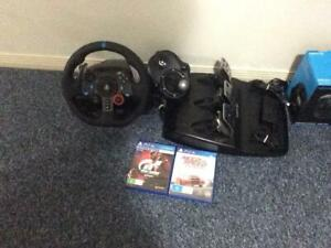 Logitech G29 with the logitech driving force gear stick with two games