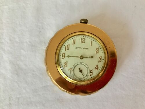 Vintage OTTO GRUN CLOCK COMPACT Combo with Second Dial Works! 1930s