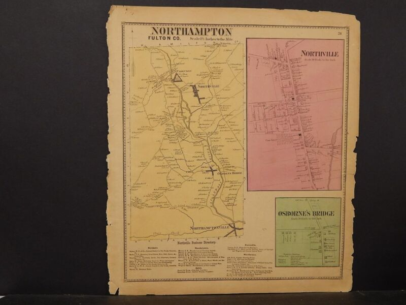 New York, Fulton County Map, 1868, North Hampton Township, !J2#90
