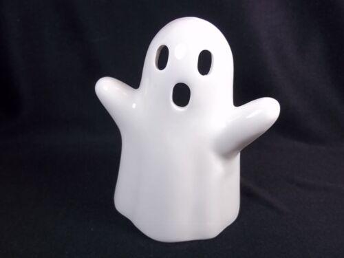 """White ghost ceramic Halloween tea light or votive holder 3.25"""" tall"""