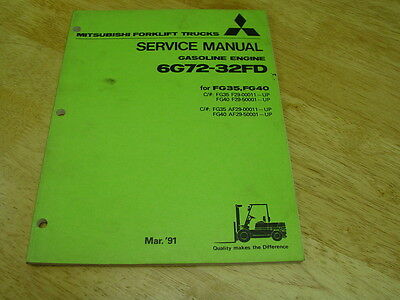 Mitsubishi Forklift Oem Service Manual Gas Engine 6g72--32fg Cyclone V6 Lqqk