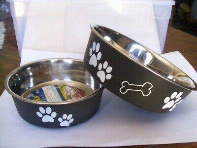 SET OF 2 BELLA DOG BOWLS - 1 MEDIUM & 1 SMALL - COLOR ESPRESSO BRAND NEW