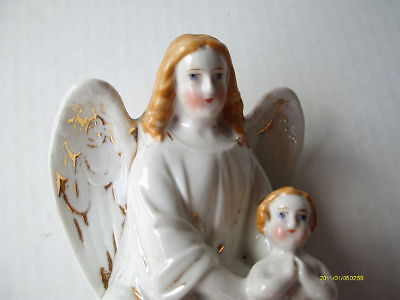 Angel with Child Figurine, Antique, Porcelain, 7.5 by 4 inches, no (Child Angel Figurine)