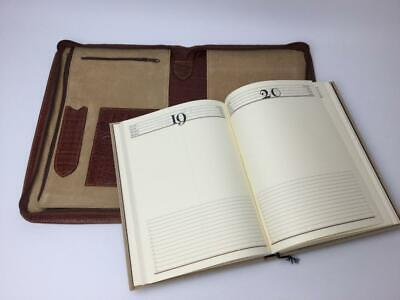 Vintage Pebbled Leather Suede Zippered Planner Binder