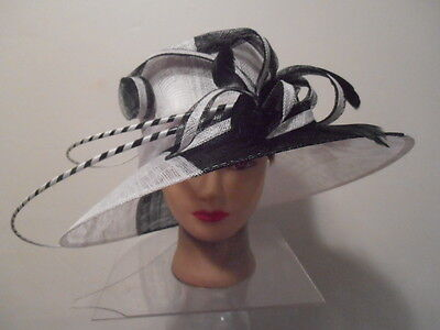 Hat -BLACK w/White Sinamay Wide Brim Kentucky DERBY DELIVERY Wedding Spikes