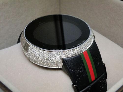 Brand New Mens I Gucci Digital White Diamond Watch 4 Ct Ya114207