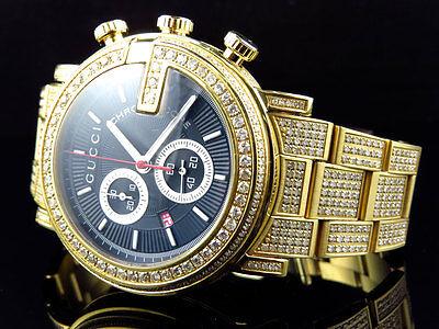 554fb91926a New Custom Mens 101 G Gold PVD Real 44 MM Diamond Gucci Ya101334 Watch 10.0  Ct