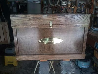 Tack Trunk w/bandage lid, brush tray/ stained dark walnut, gloss finish (Tack Trunk)
