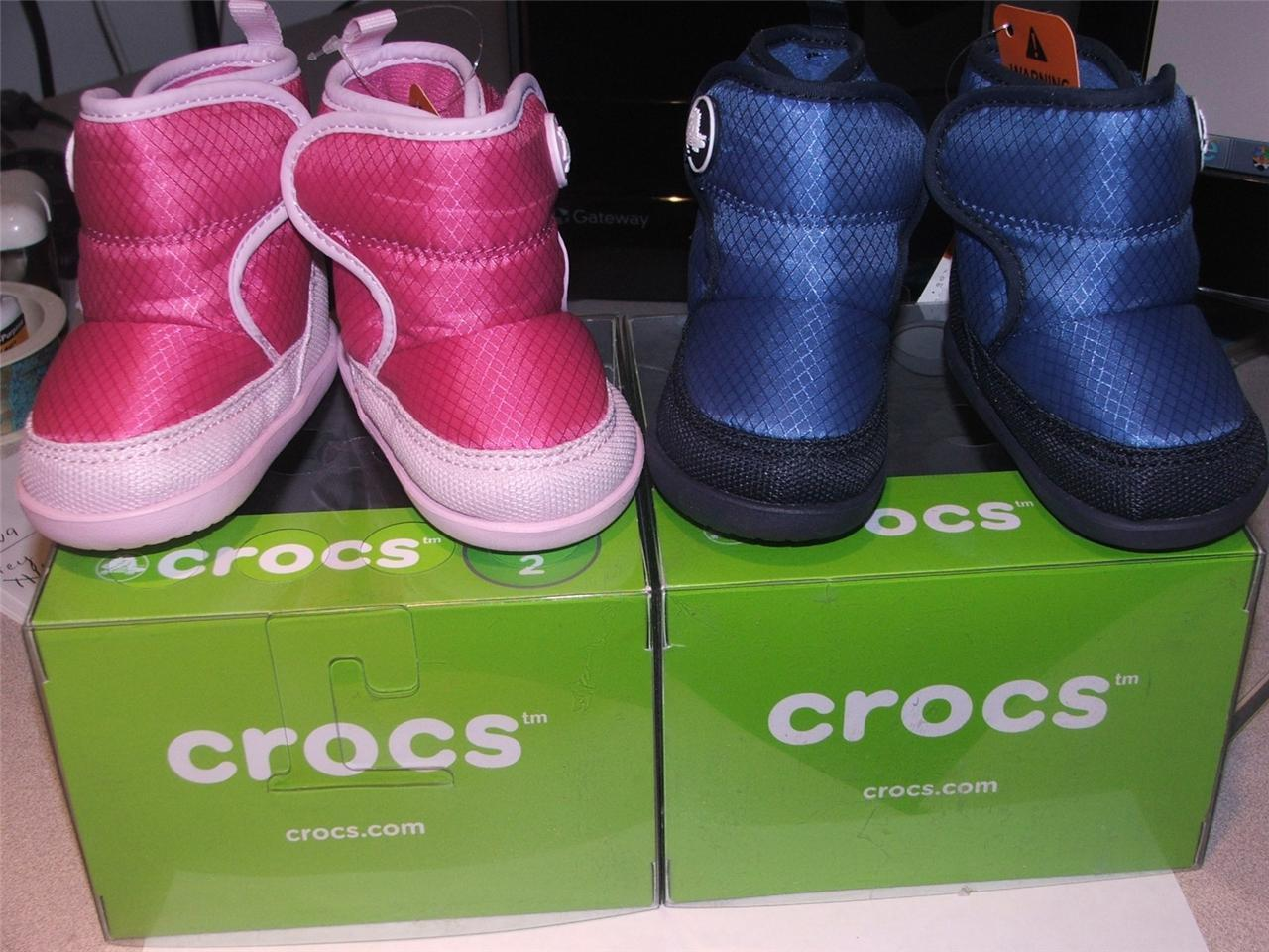 CROCS KOSMO BOOTS infant LITTLE PINK OR BLUE SZ 2 gift boxed Baby Booties