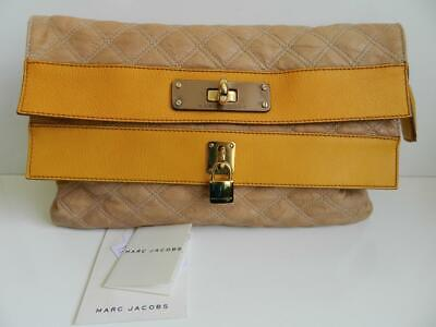 Marc Jacobs Bag Oversized Pouchette Clutch Quilted Leather Apricot Mint -