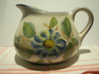 """Vintage ~ Floral Hand Painted Ceramic Pitcher ~ Made in Portugal ~ 4.75"""" X 6.75"""""""