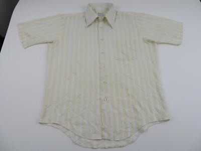 Vtg 70s Richman Brothers Mens White Striped Mod Dress Shirt Large Rat Pack Disco - 70s Clothes Men