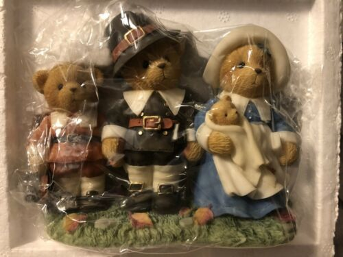New Cherished Teddies 707031 Isaac Jeremiah Temperance Thanksgiving Pilgrim Rare