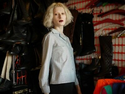 Glamour Vintage Bluse (Bluse Silber Glitzer Glamour Lurex taillert 70er TRUE VINTAGE 70s SilvesterParty)