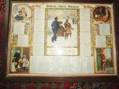 Melbecks 1914 Church Almanack oak framed 84.5 x 62cm Yorkshire Dales ephemera