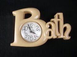 Vintage Burwood Bath Clock 1983 New Haven Quartz Almond Works