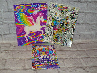 LISA FRANK Coloring Book and STICKER LOT All NEW Adult Color Me Book 3 piece ](Adult Sticker Book)