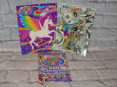 LISA FRANK Coloring Book and STICKER LOT All NEW Adult Color Me Book 3 piece  - Adult Sticker Book