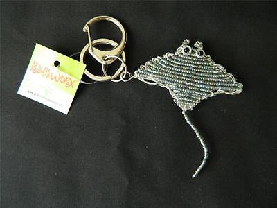 Manta Ray Glass Beads Beaded Wire Hand Crafted Beadworx Keychain Key Ring NWT (Beaded Keychain Craft)