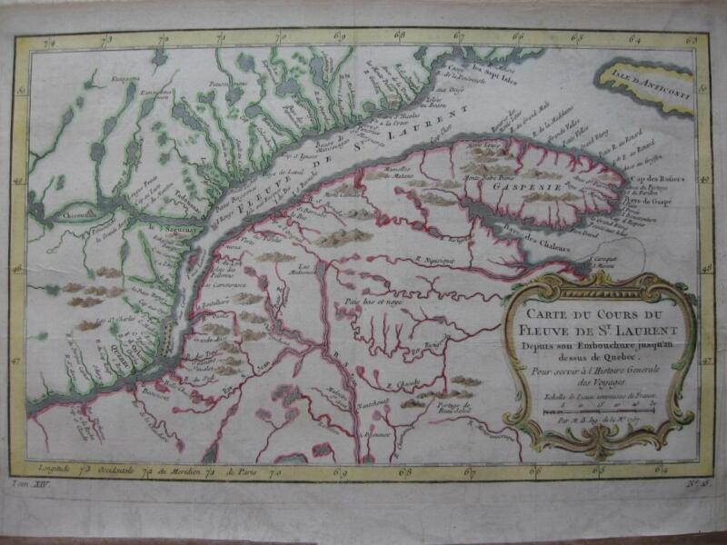 1757 - BELLIN - CANADA Map St LAWRENCE  Quebec Saguenay New Brunswick