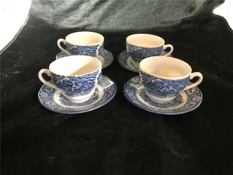 4 Staffordshire Liberty Blue Cups & Saucers