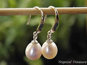 White Freshwater Pearl Teardrop Earrings - 925 SOLID Silver hooks