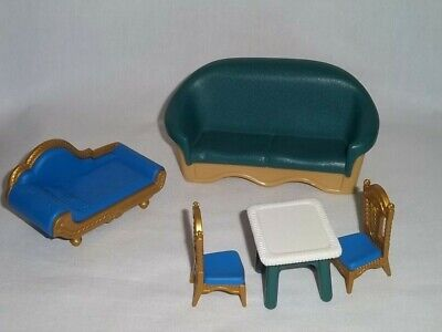 1998 FISHER PRICE Loving Family LIVING ROOM 2 Couch 2 Chair Table Dollhouse Lot