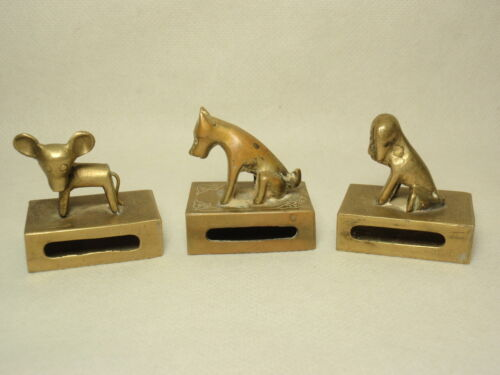Lot 3 Vtg Chinese Brass Match Box Holder Safe with Animal on Top China