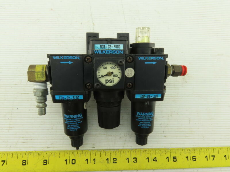 "Wilkerson R08-02-F0G0 1/4"" NPT Compressed Air Filter Regulator Lubrication FRL"