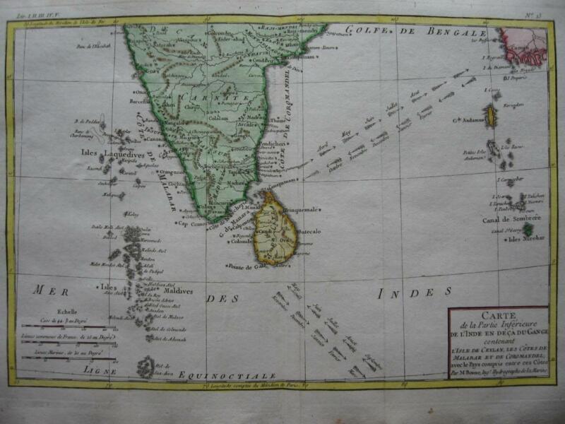 1780 - BONNE - Map  SOUTHERN INDIA  CEYLON