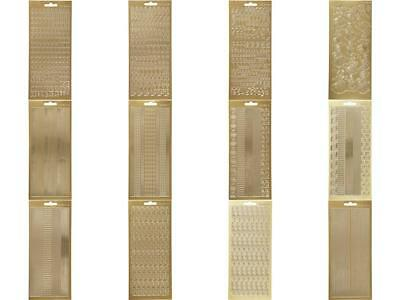 Gold Assorted Borders Alphabet Designs Self Adhesive Peel Off Stickers Sheet Adhesive Peel Off Borders