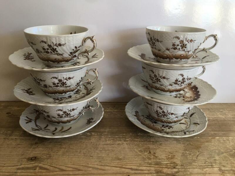 6 RIchard GINORI Brown Flowers 0828M Cups and Saucers Porcelain Beautiful Italy
