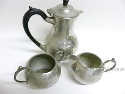 Art Nouveau Hand Hammered ELLWARE Pewter Coffee set