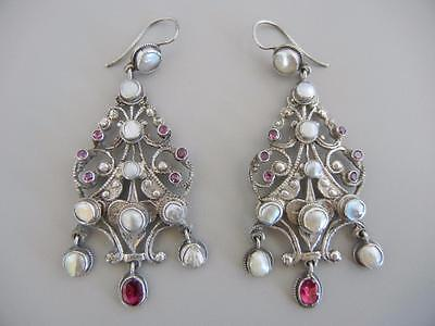 """Antique Austro Hungarian 2 3/4"""" Dangle Wire Earrings Sterling Pearls Garnets"""