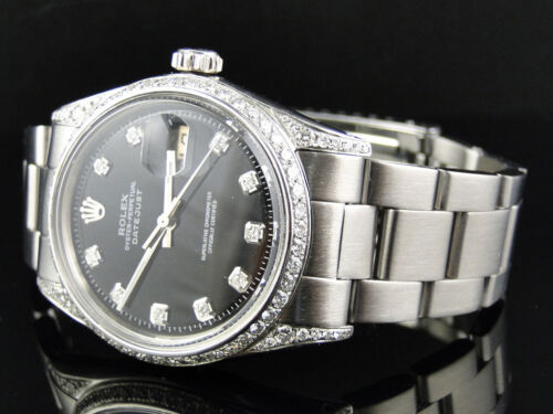 Mens Stainless Steel Rolex Datejust Oyster Watch With 2.50ct Diamond Black Dial