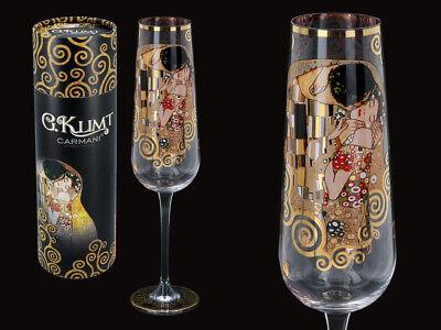 Gustav Klimt Glas Der Kuß The Kiss 1.Wahl Sektglas 200ml 26,5cm + Geschenkkarton