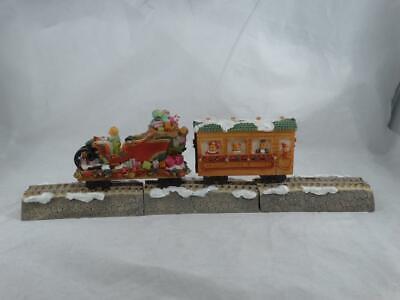 North Pole Express Ceramic Train Set & Tracks 5 Pieces 2 Trains & 3 Tracks 1995