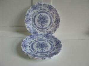 Vtg Arcopal Honorine France Salad/Bread Plates Blue White Floral 7-1/2