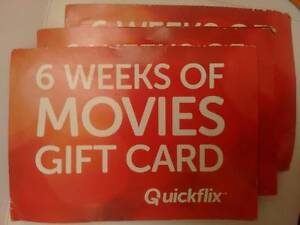 3 Quickflix 6 Week Gift Cards St Marys Mitcham Area Preview