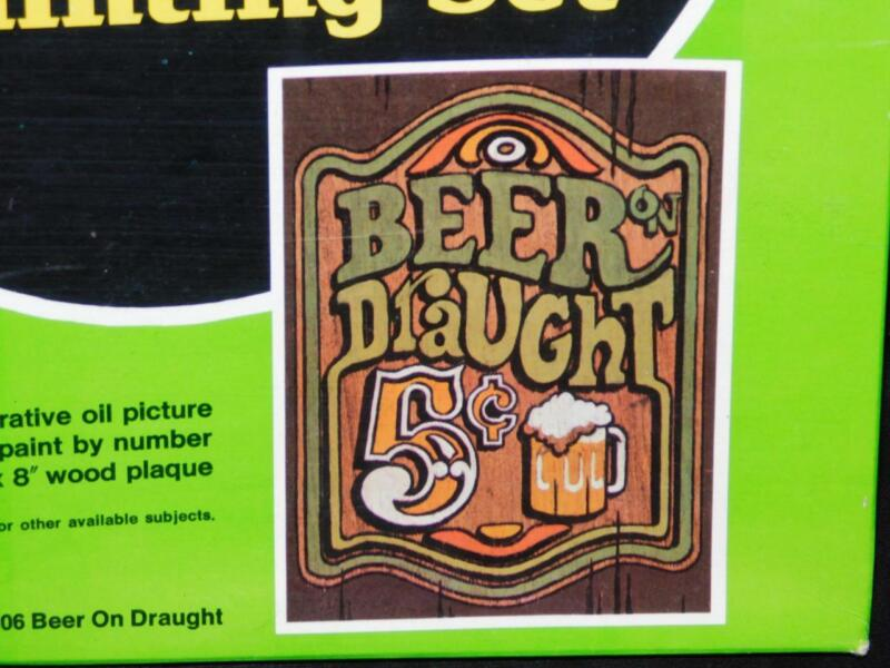 Vintage 1972 Craft Master Bar Beer Draught Wood Paint By Number Kit New Sealed